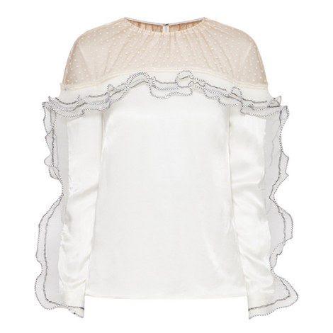 Pleated Trim Long Sleeve Top, ${color}