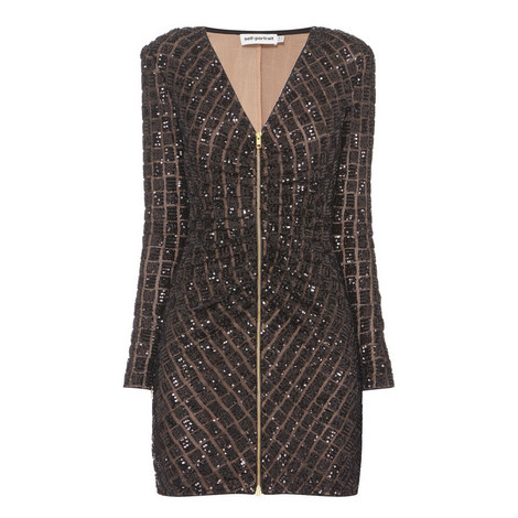 Sequin Embroidery Mini Dress, ${color}