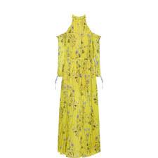 Floral Print Cold-Shoulder Gown