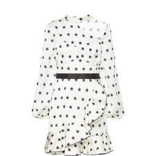 Satin Star Print Mini Dress