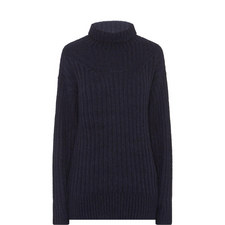 Ribbed Alpaca Polo Neck Sweater