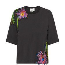 Floral Appliqué Cropped T-Shirt