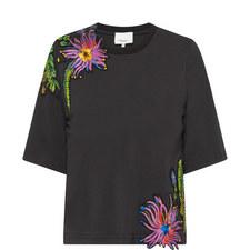 Floral Appliqué Cropped T-Shirt