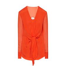 Tie-Front Silk Blouse