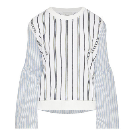 Flared Sleeve Striped Top, ${color}
