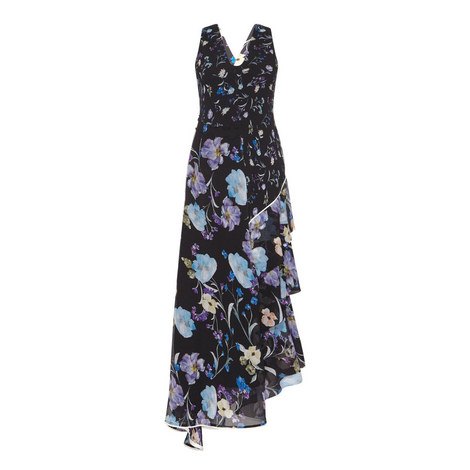 Flower Print Maxi Dress, ${color}