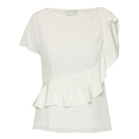 Tiered Silk Crepe Blouse, ${color}