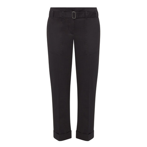 Cropped Twill Trousers, ${color}