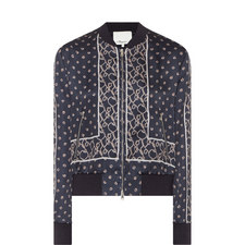 Patterned Silk Bomber Jacket