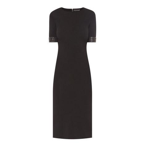 Studded Cuff Short Sleeve Dress, ${color}