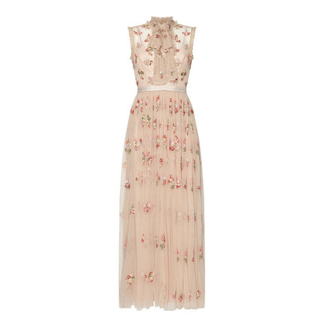 Ditsy Petal Pattern Gown, ${color}
