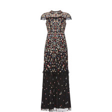 Cap Sleeve Posy Floral Gown