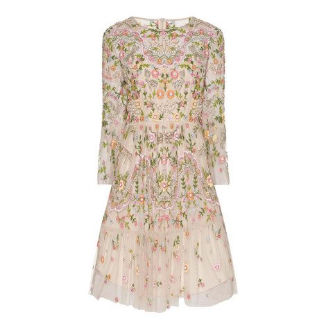 Dragonfly Embellished Ruffle Dress, ${color}