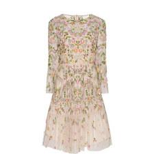 Dragonfly Embellished Ruffle Dress