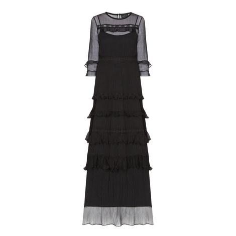 Chiffon Frill Maxi Dress, ${color}