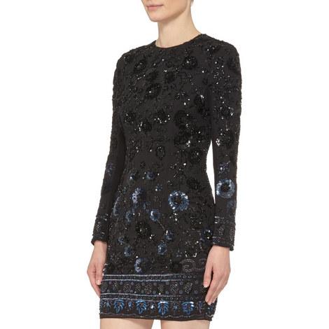 Embellished Long Sleeve Dress, ${color}