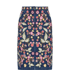 Embroidered Floral Denim Skirt