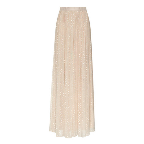 Lurex Embroidered Maxi Skirt, ${color}
