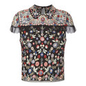 Cap Sleeve Floral Embroidered Top, ${color}