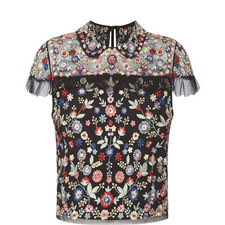 Cap Sleeve Floral Embroidered Top
