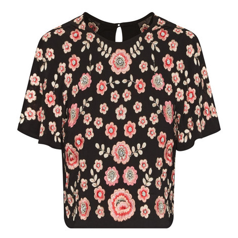 Floral Embroidered Crop Top, ${color}