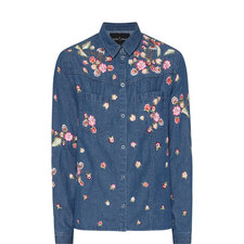 Embroidered Floral Denim Shirt