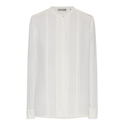 Pleated Front Silk Blouse, ${color}
