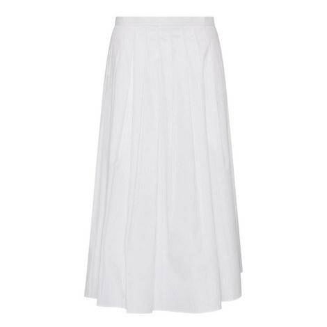 Pleated Poplin Midi Skirt, ${color}