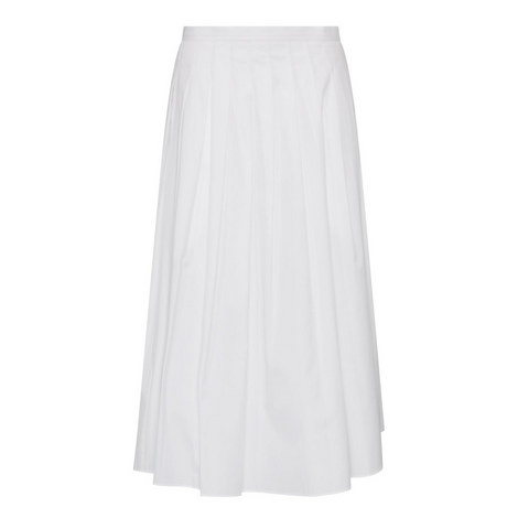 Pleated Poplin Midi Skirt, ${color}
