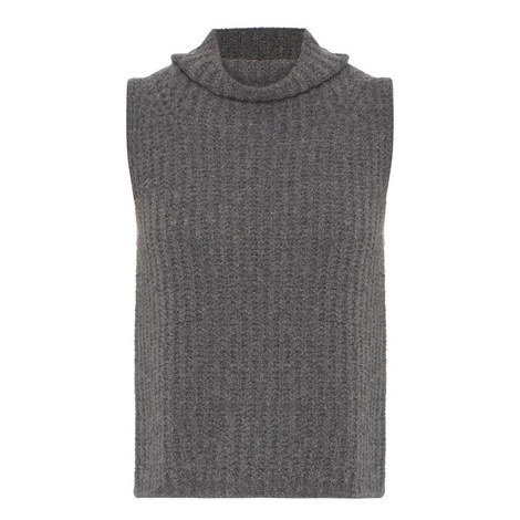 Sleeveless Roll Neck Sweater, ${color}