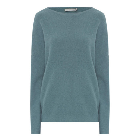 Boxy Boat Neck Cashmere Sweater, ${color}