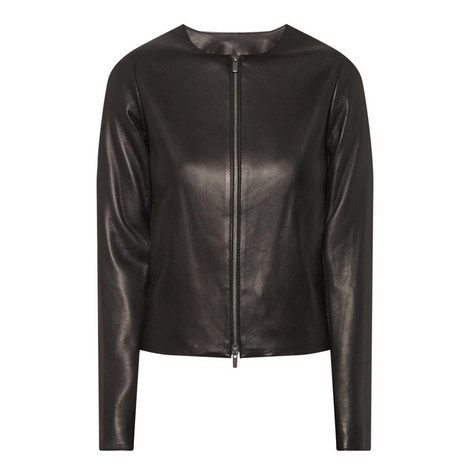 Zip Front Leather Jacket, ${color}