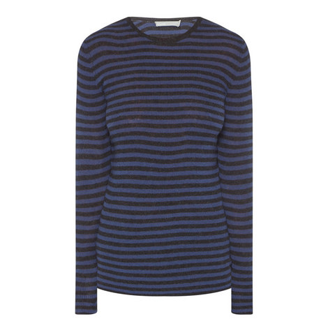 Striped Ribbed Crew Neck Sweater, ${color}
