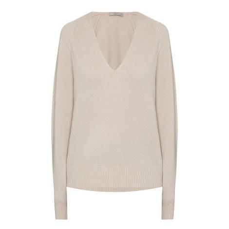 Deep V-Neck Raglan Sleeve Sweater, ${color}