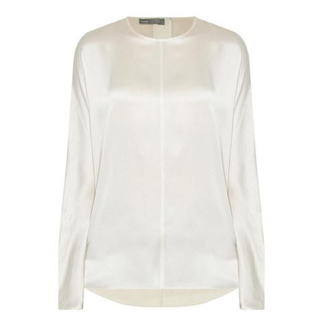 Slit Back Silk Blouse, ${color}