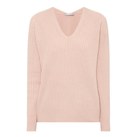 Ribbed V-Neck Sweater, ${color}