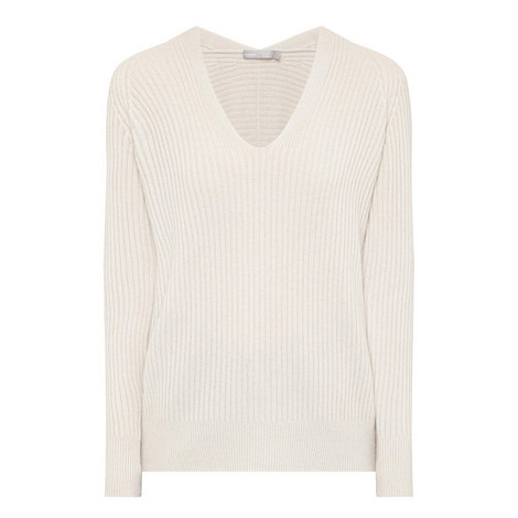 Ribbed V-Neck Sweater , ${color}