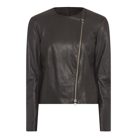 Leather Cross-Front Jacket, ${color}
