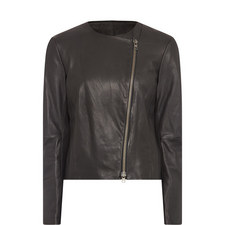 Leather Cross-Front Jacket