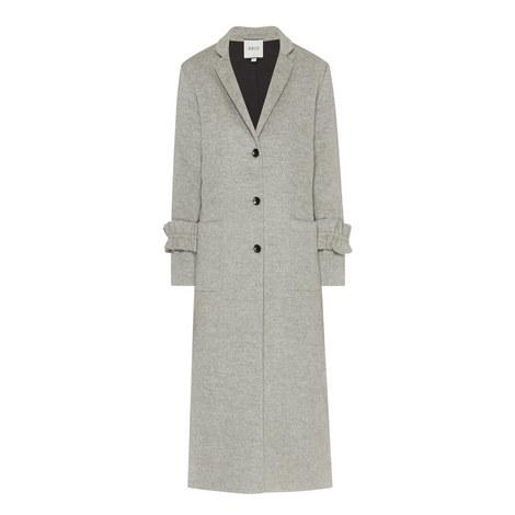 Ruffle Cuff Wool Overcoat, ${color}