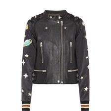 Embroidered Sundae Leather Jacket