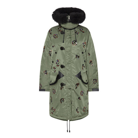 Sequin Parka Coat, ${color}