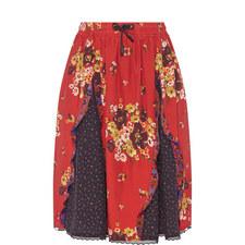Mixed Print Godet Skirt