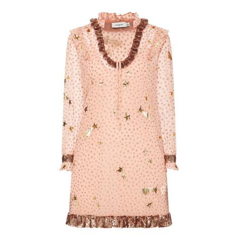 Star Print Embellished Dress, ${color}