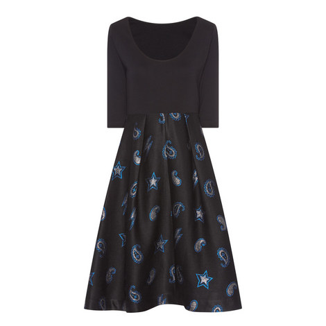 Printed Fit and Flare Dress, ${color}