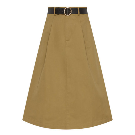 Belted A-Line Skirt, ${color}