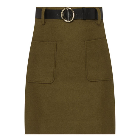 Belted Wool Mix Mini Skirt, ${color}