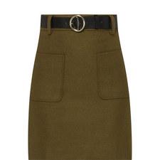 Belted Wool Mix Mini Skirt