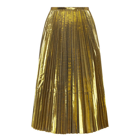 Metallic Pleated Skirt, ${color}