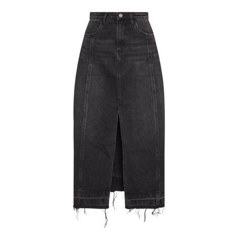 Denim Fringed Skirt, ${color}